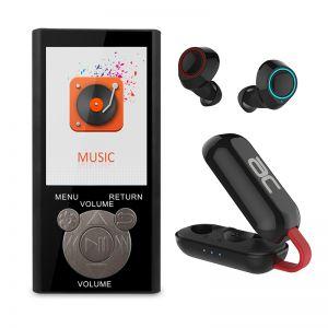 נגן MP3 בעברית עם אוזניות TWS קומפקטיות
