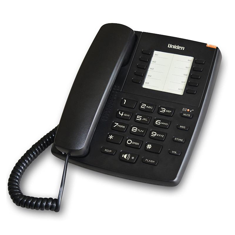 טלפון שולחני עם לחצנים בעברית, דיבורית ומקשי חיוג מהיר