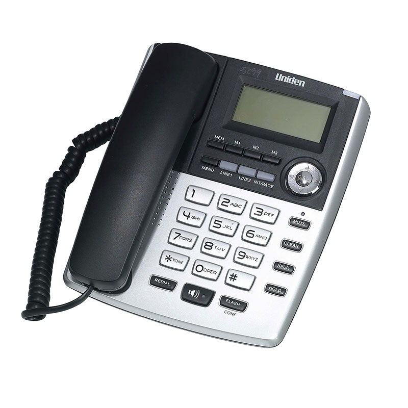 טלפון שולחני עם צג שיחה מזוהה ודיבורית